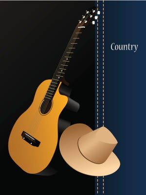 Classical acoustic guitar, cowboy hat on country background. Music instrument.