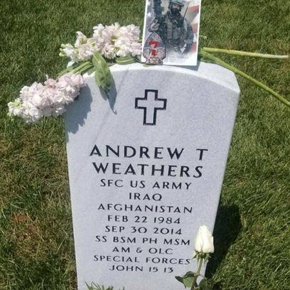 The headstone for Andrew Weathers at Arlington National