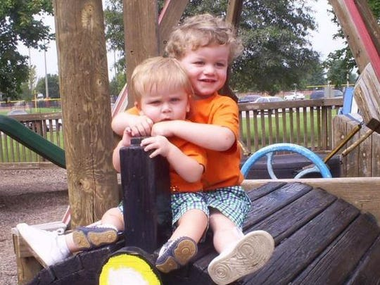 """One of Lacey Spears' MySpace photo albums shows her son, Garnett, left, and Jonathon Hunt, whom she claimed was her own while acting as his nanny before Garnett was born. In this 2009 photo, the boys are dressed identically and the caption reads: """"Brothers & Best Friends."""""""
