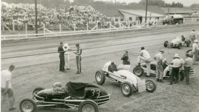 """Sprint or """"big car"""" races were a fixture at the Champlain Valley Exposition both before and after World War II, as seen here in from 1954."""