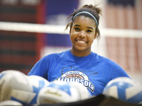 Annandale's 5-foot-11 middle hitter Kamryn D'Heilly during practice Wednesday in Annandale.