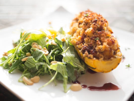 Chef Teryi Youngblood's sausage and apple stuffed Delicata