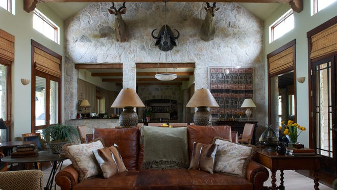 The main room of a ranch house in Glen Rose, Texas, designed by interior designer Jan Showers.