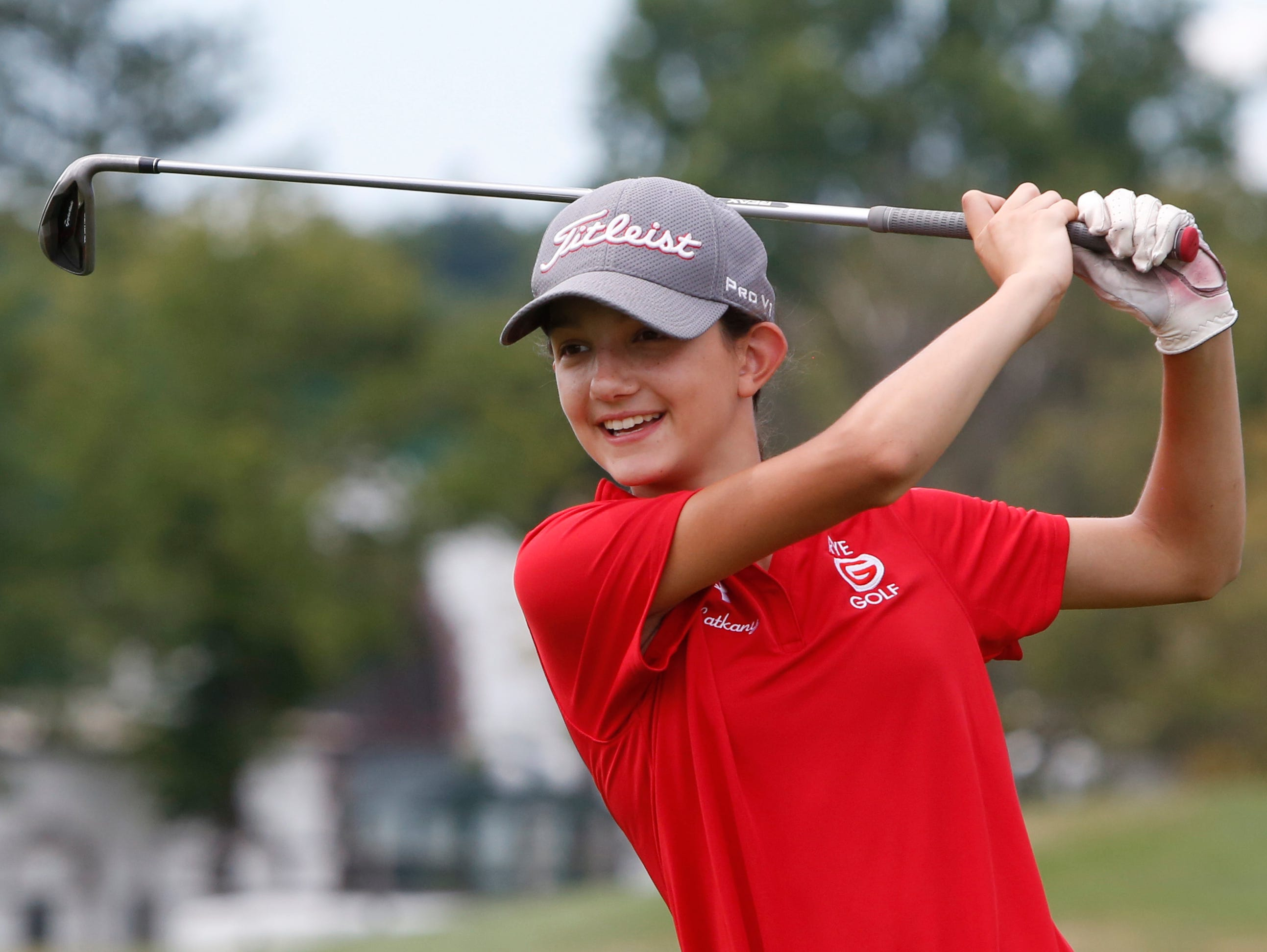 Amanda Latkany, 13, of Rye practices her swing at the Girls to the Tee event put on by the Women's Metropolitan Golf Association at Westchester Country Club in Rye, Aug. 8, 2016. The free clinic, for girls ages 6-18, is an afternoon of instruction and networking to help show girls who are learning the game that they are part of a larger group.