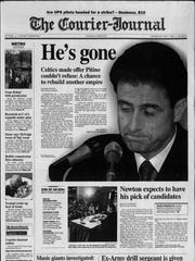 The May 7, 1997 edition of the Courier-Journal covered Rick Pitino's move from the University of Kentucky to the NBA.
