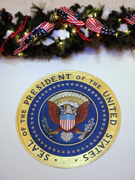 The Presidential Seal with holiday decor