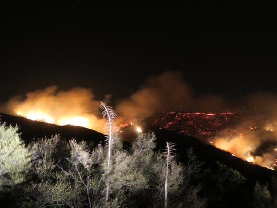 The Thomas Fire lit up hillsides above Santa Barbara
