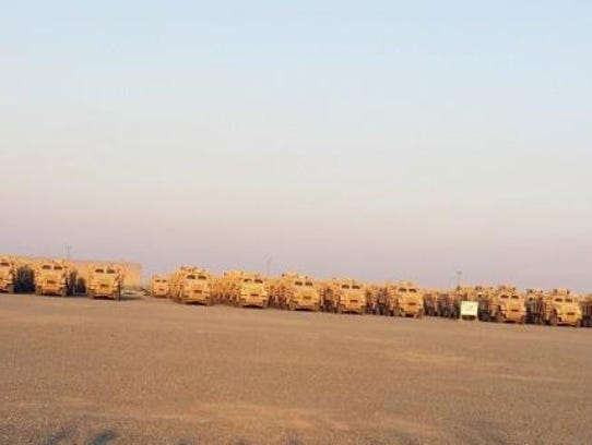 US MRAPs in Kuwait await shipment to Iraq