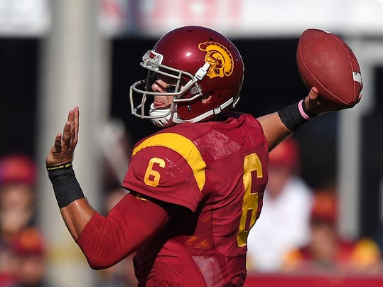 Southern California quarterback Cody Kessler passes during they first half of an NCAA college football game against Fresno State, Saturday, Aug. 30, 2014, in Los Angeles. (AP Photo/Mark J. Terrill)
