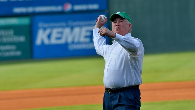 Erwin-Penland founder Joe Erwin threw out the first pitch as the Honoree of the Greenville Drive's Green Day celebration Tuesday, Aug. 2, 2016 at Fluor Field.