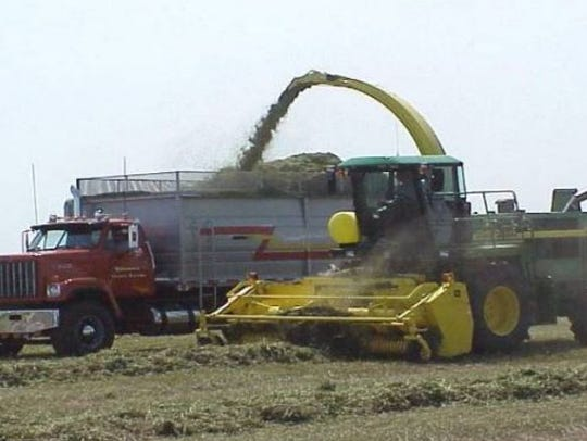 That green cloud over the truck and harvesting machine