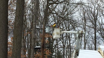 A lineman for Potomac Edison brought relief to residents of Braidburn Way in Morris Township by restoring power March 9.