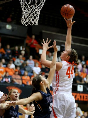 Oregon State center Ruth Hamblin (44) with a shot in the lane against Corban during an exhibition game inside Gill Coliseum, Sunday, November 8, 2015, at Oregon State University in Corvallis, Ore. Oregon State won the game 98-48.