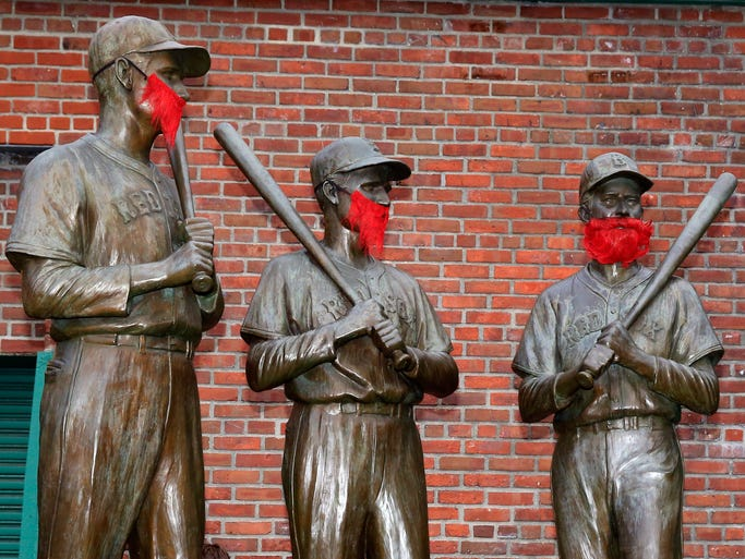 BOSTON, MA - OCTOBER 23:  Statues are seen outside Fenway Park before Game One of the World Series between the Boston Red Sox and the St. Louis Cardinals on October 23, 2013 in Boston, Massachusetts.  (Photo by Jamie Squire/Getty Images)