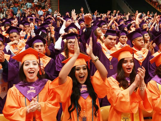 Eastlake graduates celebrate at the conclusion of their 2018 commencement.