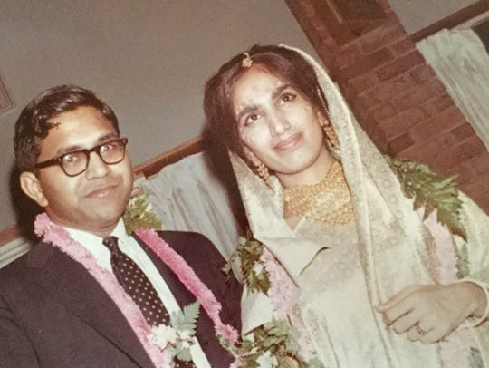 Damyanti Gupta and her husband, Subhash, on their wedding