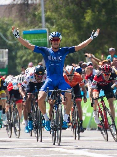 UnitedHealthcare Pro Cycling's Travis McCabe celebrates