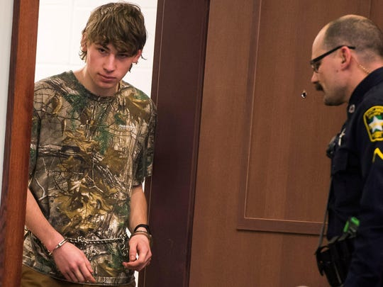 Jack Sawyer, 18, of Poultney appears in Vermont Superior Court in Rutland on Friday, Feb. 16, 2018, pleading not guilty to charges including attempted murder in connection with the threat of a mass shooting at Fair Haven Union High School.