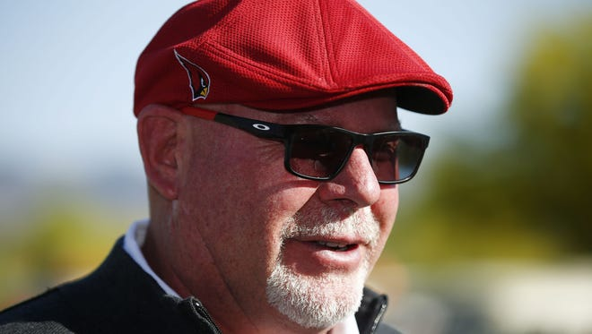 Arizona Cardinals head coach Bruce Arians talks to the media during the 28th annual Celebrity Golf Classic presented by Cardinals Charities on Wednesday, April 19, 2017 at Whirlwind Golf Club at Wild Horse Pass in Chandler, Ariz.