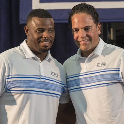 Hall of Fame inductees Ken Griffey Jr., left, and Mike