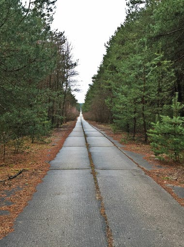 A road inside the Chernobyl Exclusion Zone stretches to the horizon.