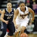 Iowa's Tania Davis steals the ball during the Hawkeyes' game against Penn State at Carver-Hawkeye Arena on Wednesday, Jan. 20, 2016.