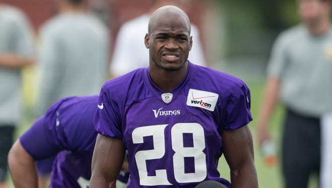 Vikings RB Adrian Peterson is expected back on the practice field Tuesday.
