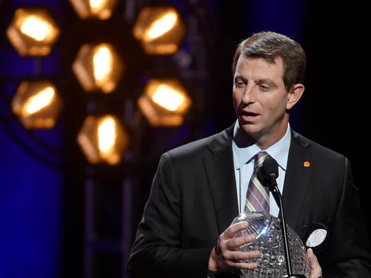 Clemson national champion Head Coach Dabo Swinney speaks to the crowd during the 2017 American Football Coaches Awards show at the Grand Ole Opry in Nashville, Tenn., Tuesday, Jan. 10, 2017.