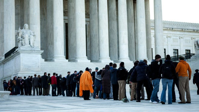 The Supreme Court was the scene of protests Wednesday.