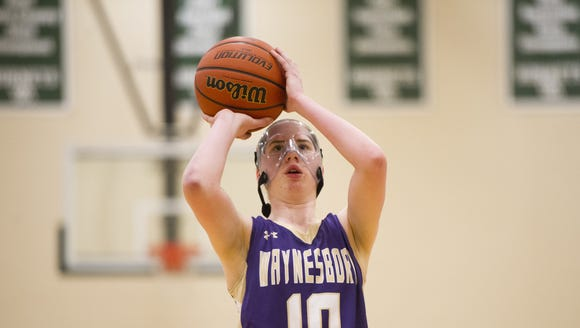 Waynesboro's Kathryn Johnson takes a free-throw against