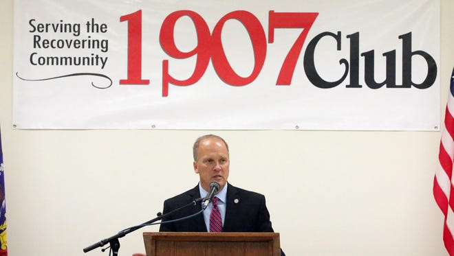 State Attorney General Brad Schimel speaks on issues related to substance abuse during a visit to the 1907 Club in Sheboygan on Saturday.