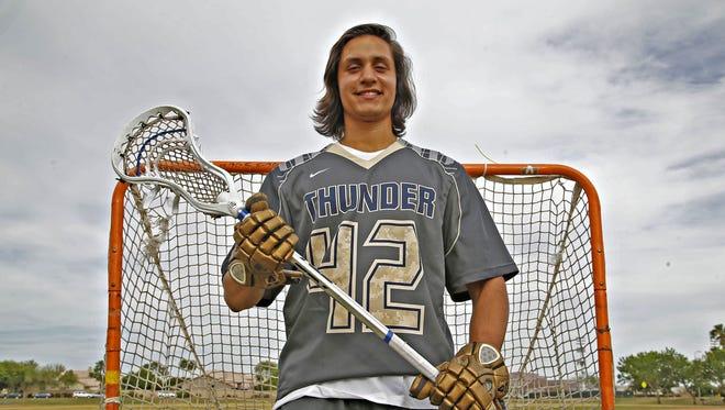 Jayden Chandran plays Attack on the Desert Vista high school boys lacrosse team.