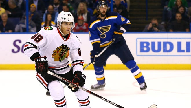 Chicago Blackhawks right wing Patrick Kane (88) in action during the first period in game five of the first round of the 2016 Stanley Cup Playoffs at against the St. Louis Blues Scottrade Center.