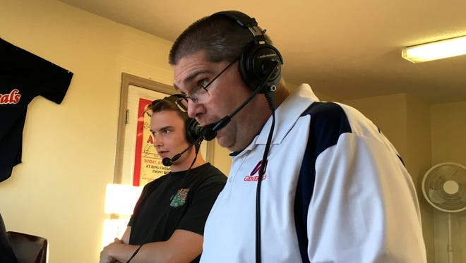 Kris Neil, right, does the play-by-play for the internet broadcast of Waynesboro Generals' home baseball games, but he usually has a partner. On Tuesday, June 27, his partner was former team intern, Adam Hawes.