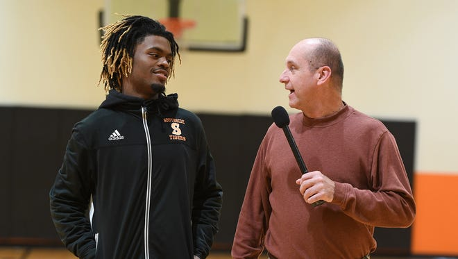 "Greenville News preps editor Bob Castello talks with Southside senior guard Tuzion Brock of the Class AAA defending state champion Southside Tigers during this week's edition of ""Open Court"" with Bob Castello"