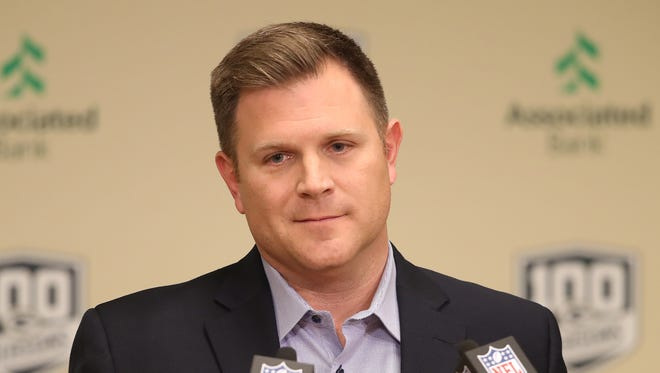Green Bay Packers general manager Brian Gutekunst conducts his pre-draft news conference at Lambeau Field on Monday, April 23, 2018, in Green Bay.