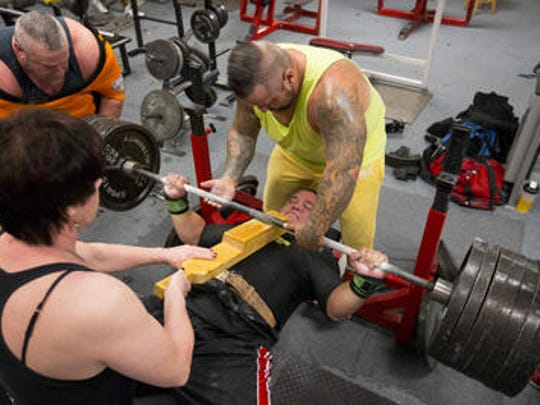 Chuck Hudson, 36, of Surprise, trains at Die Hard Gym and Fitness in Peoria