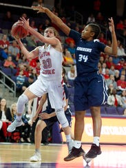 Marist College women's basketball recruit Kendall Krick goes up for a layup for Chandler Seton Catholic High School in a state playoff game in Phoenix in February.