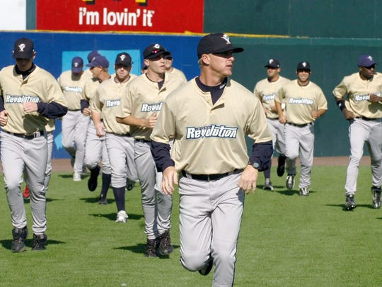 "Revs pitcher Adam Thomas leads the team onto the field for warmups before the franchise's first game in 2007. After this opening road series in Bridgeport, Conn., the York team played several ""home"" games in Camden, N.J., while waiting for its home stadium to be finished."