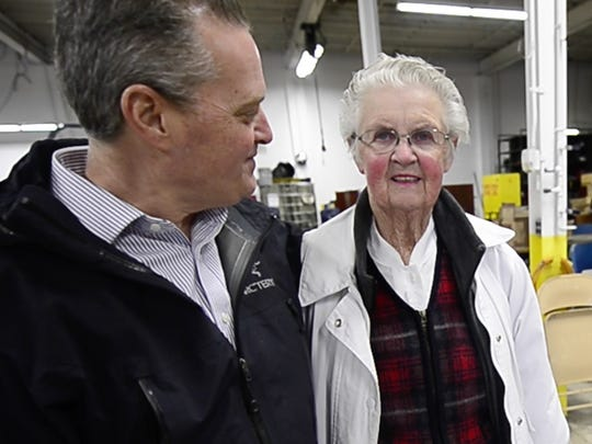 """From the left, John M. Poll, president of Reliance Student Transportation in York Township, with Norma Winemiller, who has been driving school buses for 40 years. """"They make or break us,"""" Polli said of Reliance's drivers. """"They're the face of the business."""""""