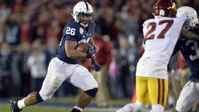 Penn State running back Saquon Barkley runs the ball against Southern California during the Rose Bowl.