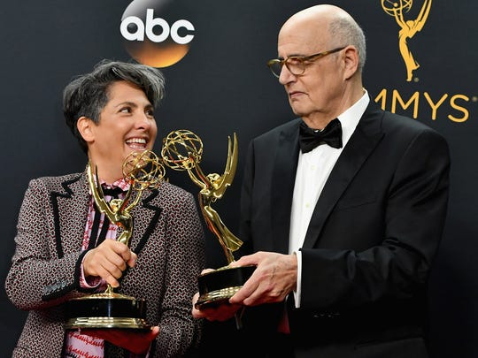 Writer/producer Jill Soloway (left), winner of outstanding directing for a comedy series for 'Transparent,' and star Jeffrey Tambor.