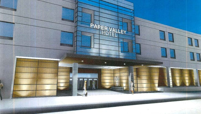 A rendering of the outside of the Radisson Paper Valley Hotel.