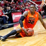 Oregon State forward Jarmal Reid glares at official Tommy Nunez (not pictured) in response to a no-call during the second half against Utah.