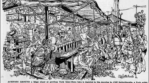 'Activity Around a Bingo Stand' artwork by Cliff Satterthwaite (The Gazette and Daily issue of September 10, 1962)