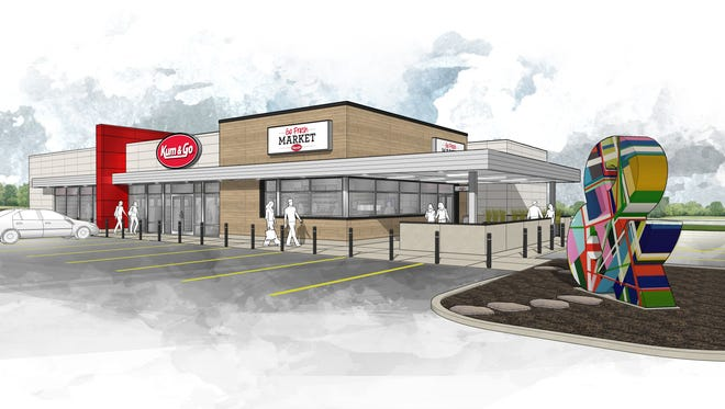 A rendering of the Kum & Go marketplace stores, complete with indoor and outdoor seating, being rolled out in 2016.