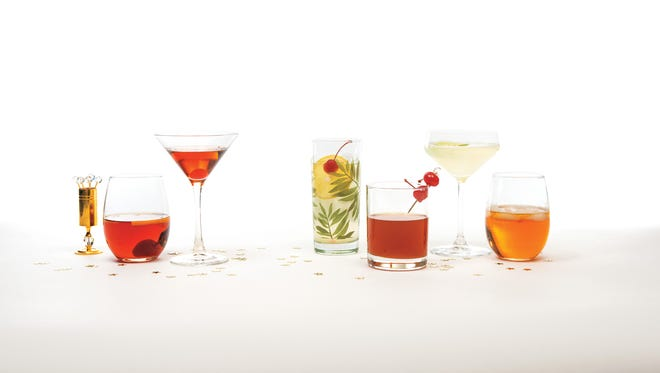 (From left) Old Fashion, Manhattan, Tom Collins, Whiskey Sour, Gimlet and a High Ball.