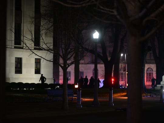 Police surround the Madison County courthouse after