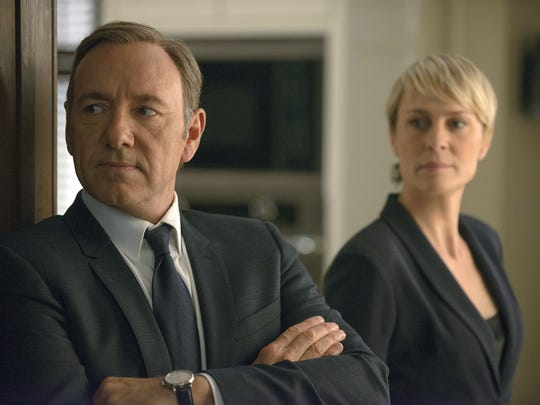 "This image released by Netflix shows Kevin Spacey as Francis Underwood, left, and Robin Wright as Clair Underwood in a scene from ""House of Cards.""  The show resumes Friday on Netflix, with the ruthless couple taking over as leaders of the free world."