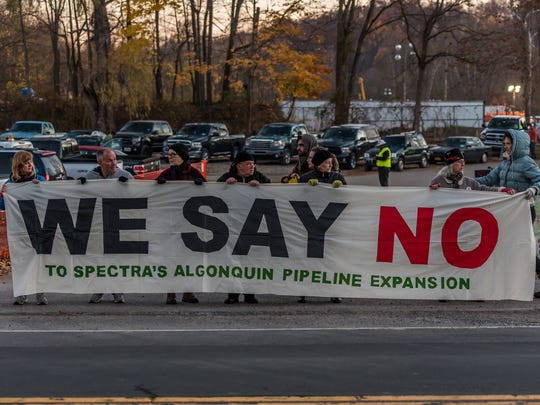 Nine people were arrested when opponents of Spectra Energy's Algonquin pipeline gathered in Montrose on Nov. 10, some blocking the entrance to the project's wareyard.